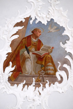 Saint Gregory the Great one of the four Great Latin Fathers, fresco in the church of St. Agatha in Schmerlenbach, Germany