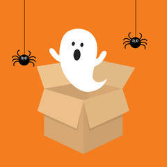 Happy Halloween ghost pop up from the brown box with black spider