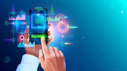 Contactless payment concept. NFC paying on phone. virtual banking card in app of smartphone in hand of man. Payments from mobile phone for services. Wireless money transaction technology.