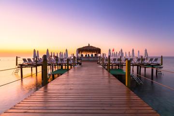 Beautiful sunrise at the beach of Turkish Riviera, Tekirova Fototapete