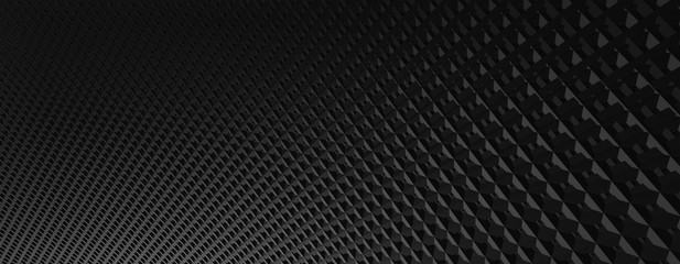 3d ILLUSTRATION, of abstract background, BLACK METAL MESHES texture, wide panoramic for wallpaper