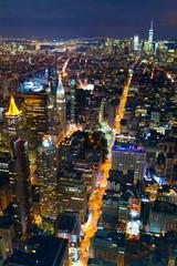 Night panorama of Manhattan in New York City taken from above