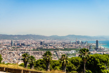 Panoramic view at Barcelona city and mountains in Spain
