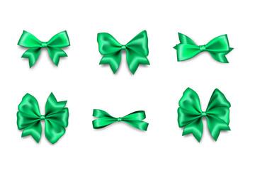 Holiday satin gift bow knot ribbon green spring Wall mural