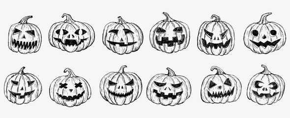 Halloween pumpkin set. Hand drawn illustration.