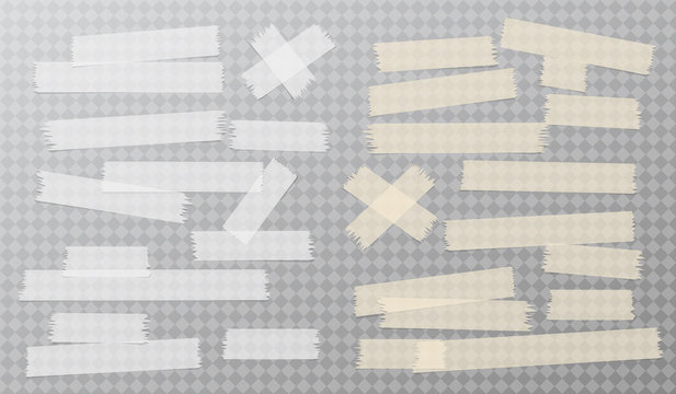 White and brown adhesive, sticky, masking, duct tape strips for text stuck on gray squared background. Vector illustration.