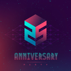 Fototapeta 25 Anniversary night party - Electronic music fest and electro space poster. Abstract gradients music background. Club party invitation flyer with number Twenty five. obraz