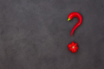 Abstract picture of tomato and pepper in the shape of a question mark. Black background. There is a place for text