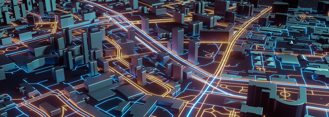 Abstract 3d render of techno panorama landscape city. Urban and futuristic visual technology concepts