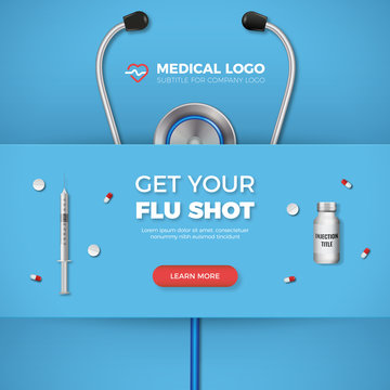 Get Your Flu shot healthcare banner with syringe, logo and flat icons on blue background. Excellent for medicine, health, cross and decoration for poster, social media, posts, web, cover.