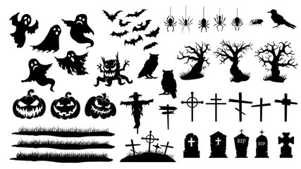 Collection of halloween silhouettes. Vector set of halloween icon.