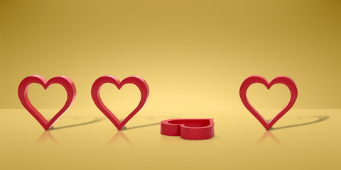 heart 3D model. symbol of love 3d render. 3d image.