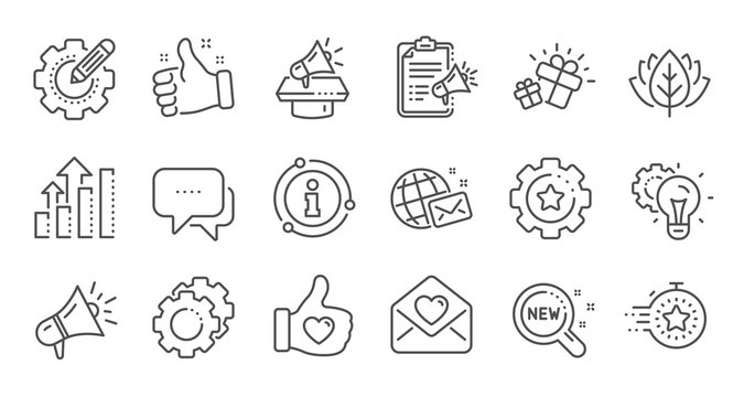 Brand social project line icons. Business strategy, Megaphone and Representative. Influence campaign, social media marketing, brand ambassador icons. Linear set. Quality line set. Vector