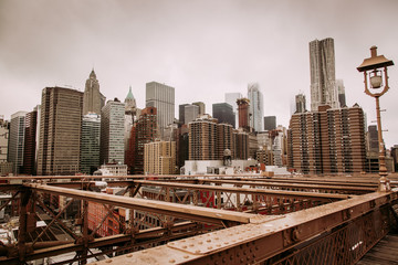 Manhattan view from Brooklyn Bridge in New York City