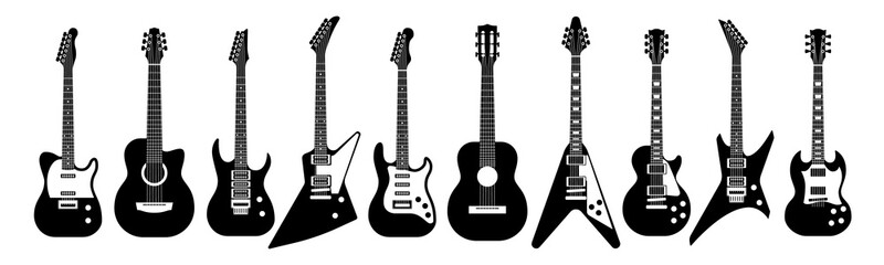 Black and white guitars. Acoustic and electric guitar outline musical instruments Vector isolated set
