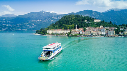 Aerial photo shooting with drone on Bellagio, famous Lombardia city on the Como Lario Lake