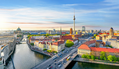 Berlin panorama with Berlin cathedral, Spree river, Town Hall and Television tower, Germany Fototapete