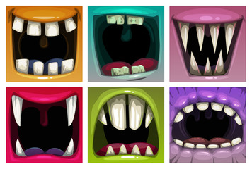 Creppy fantasy monsters mouth set. Vector scary jaws collection.