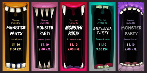 Creepy Halloween party invitation flyers. Colorful screaming monster mouth posters.
