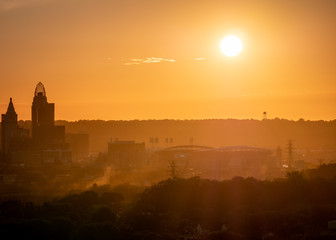 A Stadium in Cincinnati During Sunrise