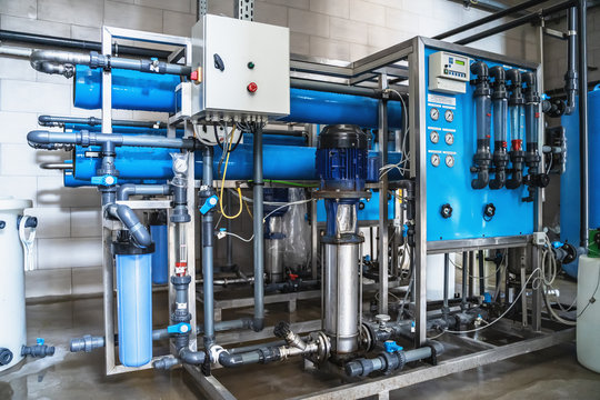 System of automatic treatment and multi-level filtration of drinking water produced from well. Plant or factory for production of purified drinking water