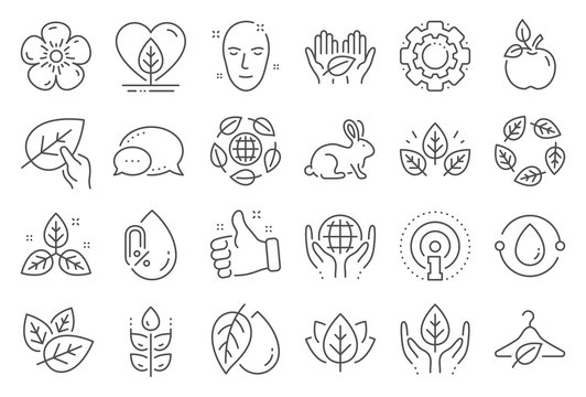 Organic cosmetics line icons. No alcohol free, synthetic fragrance. Slow fashion, sustainable textiles icons. Fair trade, eco organic cosmetics. Gluten free, animal testing. Line signs set. Vector