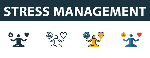 Stress Management icon set. Four simple symbols in diferent styles from soft skills icons collection. Creative stress management icons filled, outline, colored and flat symbols