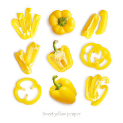Wall Mural - Set of fresh whole and sliced sweet yellow pepper