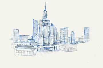 Rysynek ręcznie rysowany. Widok na Pałac Kultury i Nauki w Warszawie w Polsce.