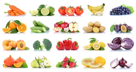 Fruits vegetables collection isolated apple apples oranges grapes tomatoes banana colors fresh fruit Wall mural