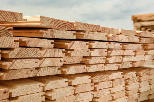 End view of stacked lumber.