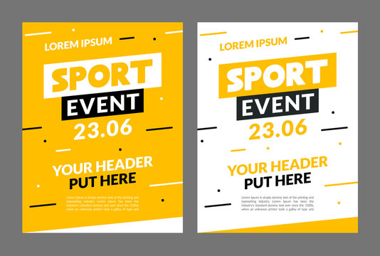 Sport flyer design banner poster. Sport event template brochure for match championship promotion