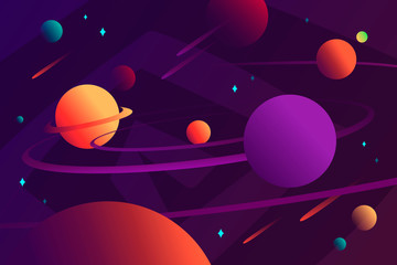 Solar system. Cartoon vector illustration. Horizontal space background. Planets, stars and comets. Template for background, banner, landing, card.