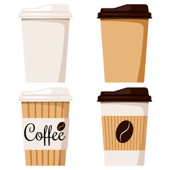 Isolated on white background disposable kraft brown, white paper coffee cup with cap icon set, designed coffee grain.