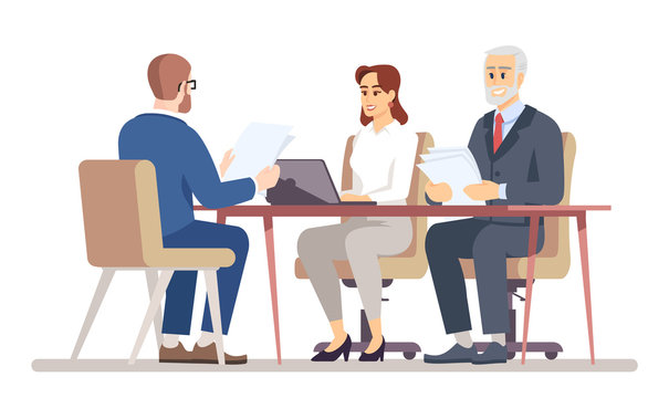 HR manager interviewing job applicant flat vector illustration. Business negotiations in office. Meeting with jobseeker, partner, client isolated cartoon characters on white background