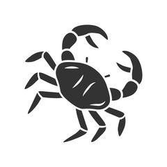 Crab glyph icon. Swimming sea animal with pincers. Zodiac sign. Underwater creature. Ocean aquarium. Seafood restaurant. Delicacy food. Silhouette symbol. Negative space. Vector isolated illustration
