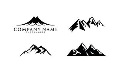 Mountain set template logo vector