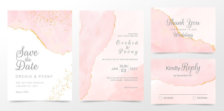 Rose gold wedding invitation cards template set. Artistic watercolor background of pink brush stroke splash. Abstract foil design