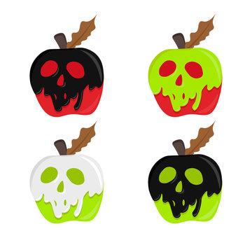 apple with poison. poison apple vector. magic illustration apple. shape skull coated red apple. halloween concept.