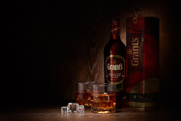 St.Petersburg, Russia - May 2018 - Grant's. Blended scotch whisky.