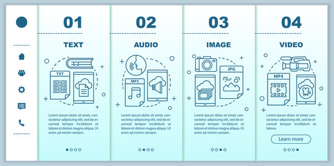 Digital library onboarding mobile web pages vector template. Media types. Responsive smartphone website interface idea with linear illustrations. Webpage walkthrough step screens. Color concept