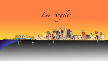 Wall Mural - Los Angeles Illustration