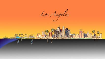 Fototapete - Los Angeles Illustration