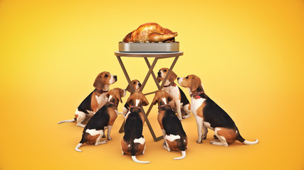 Dog looking at a roasted chicken. 3d rendering