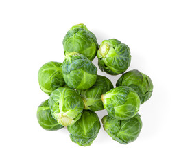 Brussel Sprouts isolated on white background. top view