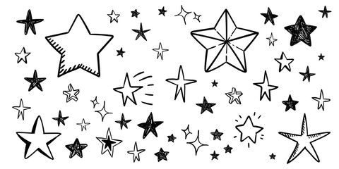 Star doodle collection. Set of hand drawn stars. Scribble illustrations.