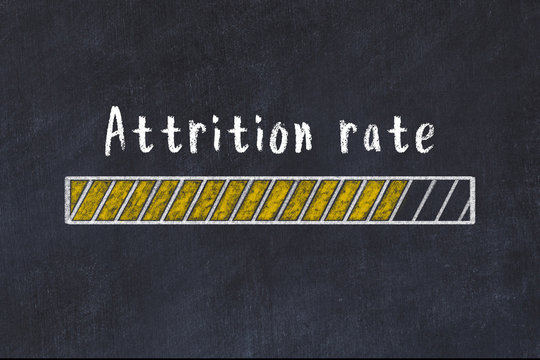 Chalk drawing of loading progress bar with inscription attrition rate