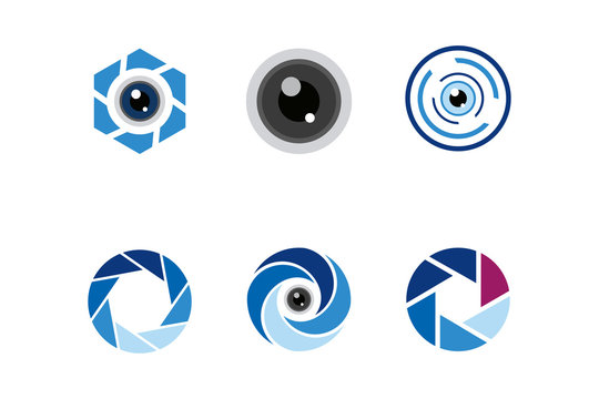 lens logo icon vector set