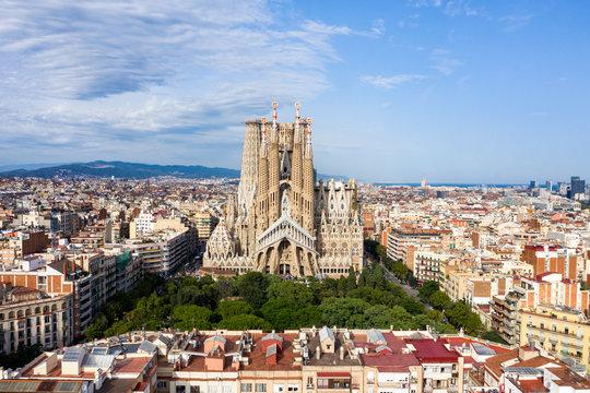 La Sagrada Familia Drone view of the uncomplete Cathedral in Barcelona Spain