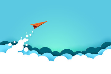 Red paper airplane flying from clouds on blue sky background.Business start up and success concept paper art style.Vector illustration. Fototapete